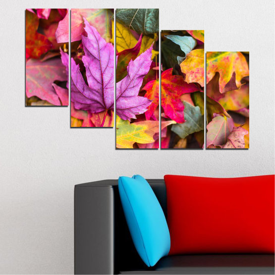 Canvas prints & wall decorative panels - 5 pieces №0769 » Red, Pink, Purple, Yellow, Brown, Milky pink, Dark grey » Tree, Autumn, Colorful, Leaf, Leaves Form #7