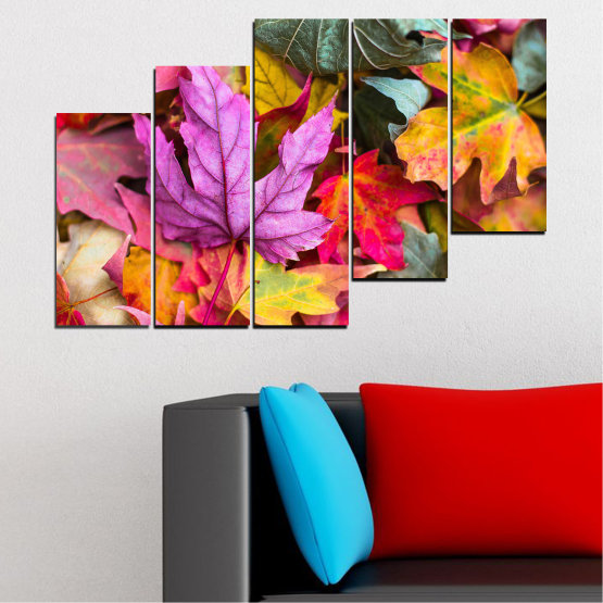 Canvas prints & wall decorative panels - 5 pieces №0769 » Red, Pink, Purple, Yellow, Brown, Milky pink, Dark grey » Tree, Autumn, Colorful, Leaf, Leaves Form #8