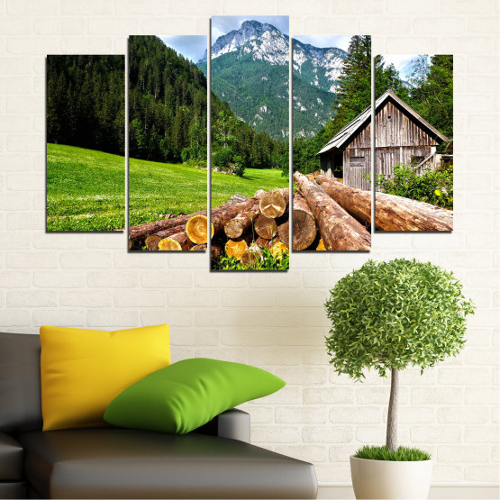 Canvas prints & wall decorative panels - 5 pieces №0770 » Green, Brown, Black, Gray, White, Dark grey » Landscape, Mountain, Forest, Tree, Alp Form #1