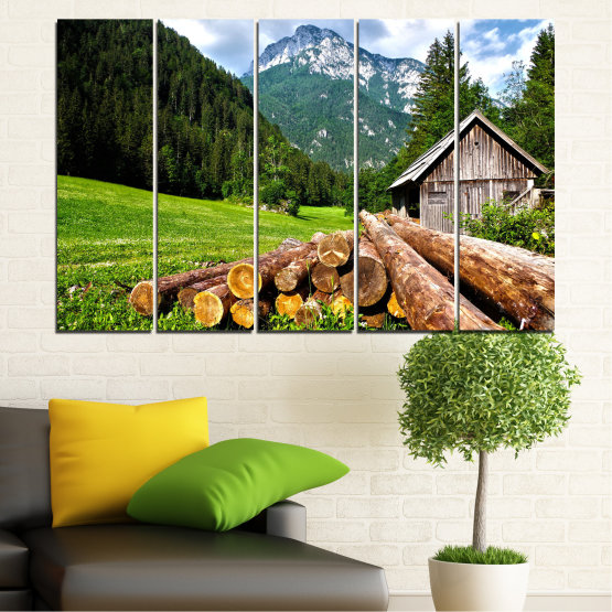Canvas prints & wall decorative panels - 5 pieces №0770 » Green, Brown, Black, Gray, White, Dark grey » Landscape, Forest, Mountain, Tree, Alp Form #2