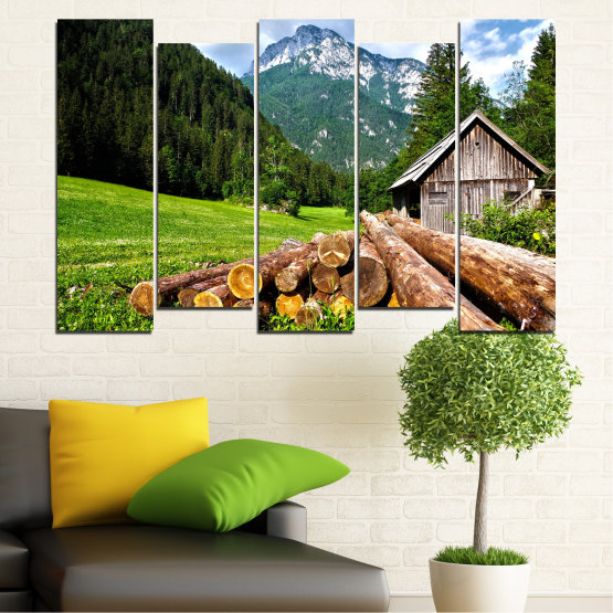 Canvas prints & wall decorative panels - 5 pieces №0770 » Green, Brown, Black, Gray, White, Dark grey » Landscape, Forest, Mountain, Tree, Alp Form #3