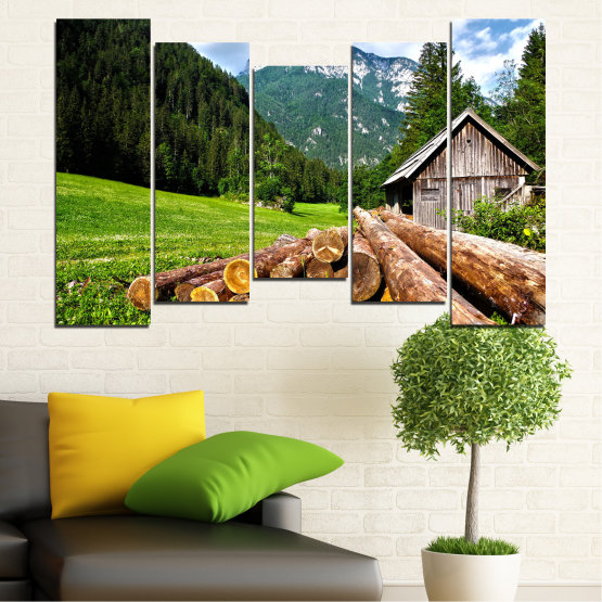 Canvas prints & wall decorative panels - 5 pieces №0770 » Green, Brown, Black, Gray, White, Dark grey » Landscape, Forest, Mountain, Tree, Alp Form #4