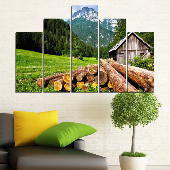 Canvas prints & wall decorative panels - 5 pieces №0770 » Green, Brown, Black, Gray, White, Dark grey » Landscape, Mountain, Forest, Tree, Alp Form #5