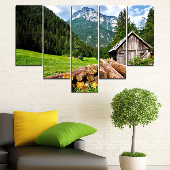 Canvas prints & wall decorative panels - 5 pieces №0770 » Green, Brown, Black, Gray, White, Dark grey » Landscape, Forest, Mountain, Tree, Alp Form #6