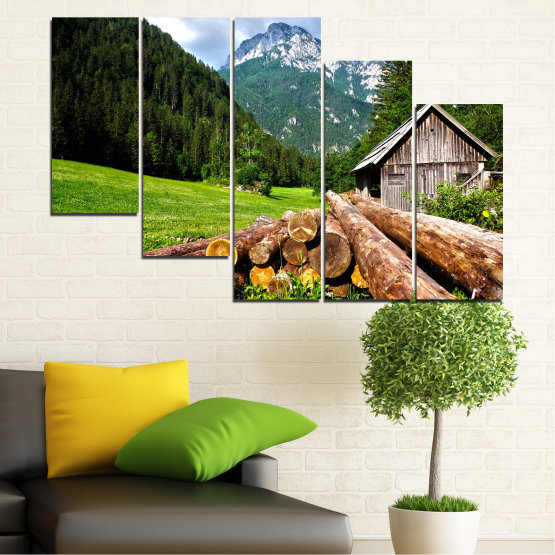 Canvas prints & wall decorative panels - 5 pieces №0770 » Green, Brown, Black, Gray, White, Dark grey » Landscape, Forest, Mountain, Tree, Alp Form #7