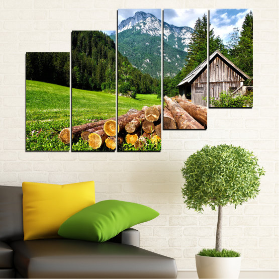 Canvas prints & wall decorative panels - 5 pieces №0770 » Green, Brown, Black, Gray, White, Dark grey » Landscape, Forest, Mountain, Tree, Alp Form #8