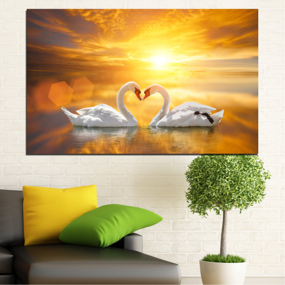 Canvas prints & wall decorative panels - 1 piece №0773 » Yellow, Orange, Brown, Beige, Dark grey » Sea, Sunset, Water, Ocean, Reflection, Swan, Light, Love Form #1