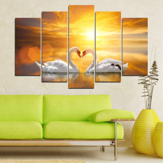 Canvas prints & wall decorative panels - 5 pieces №0773 » Yellow, Orange, Brown, Beige, Dark grey » Water, Sea, Sunset, Ocean, Reflection, Swan, Light, Love Form #1
