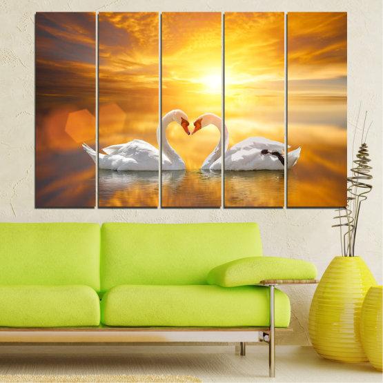 Canvas prints & wall decorative panels - 5 pieces №0773 » Yellow, Orange, Brown, Beige, Dark grey » Water, Sea, Sunset, Ocean, Reflection, Swan, Light, Love Form #2