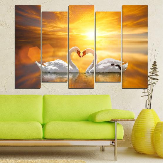 Canvas prints & wall decorative panels - 5 pieces №0773 » Yellow, Orange, Brown, Beige, Dark grey » Water, Sea, Sunset, Ocean, Reflection, Swan, Light, Love Form #3