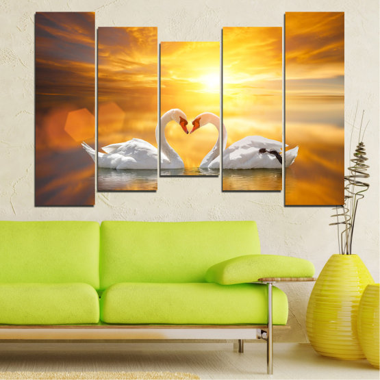 Canvas prints & wall decorative panels - 5 pieces №0773 » Yellow, Orange, Brown, Beige, Dark grey » Water, Sea, Sunset, Ocean, Reflection, Swan, Light, Love Form #4