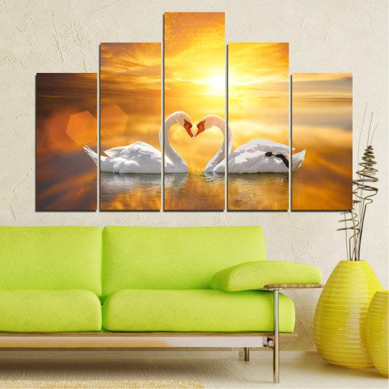 Canvas prints & wall decorative panels - 5 pieces №0773 » Yellow, Orange, Brown, Beige, Dark grey » Water, Sea, Sunset, Ocean, Reflection, Swan, Light, Love Form #5