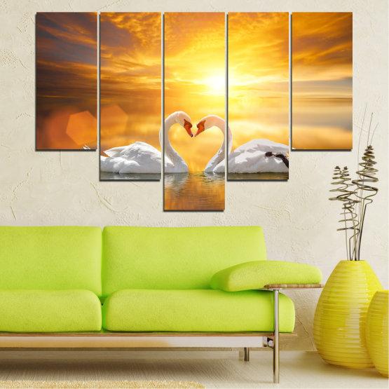 Canvas prints & wall decorative panels - 5 pieces №0773 » Yellow, Orange, Brown, Beige, Dark grey » Water, Sea, Sunset, Ocean, Reflection, Swan, Light, Love Form #6