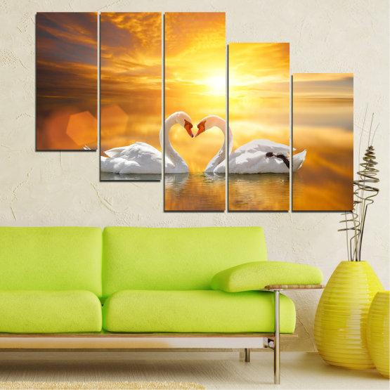 Canvas prints & wall decorative panels - 5 pieces №0773 » Yellow, Orange, Brown, Beige, Dark grey » Water, Sea, Sunset, Ocean, Reflection, Swan, Light, Love Form #7