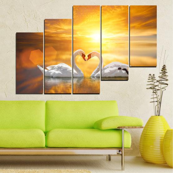Canvas prints & wall decorative panels - 5 pieces №0773 » Yellow, Orange, Brown, Beige, Dark grey » Water, Sea, Sunset, Ocean, Reflection, Swan, Light, Love Form #8