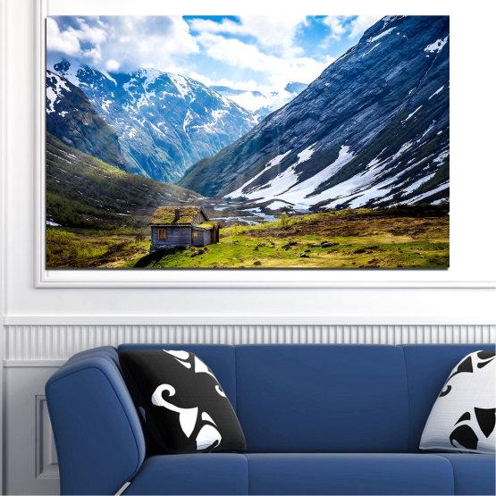 Εκτύπωση σε καμβά και διακοσμητικά πάνελ τοίχου - 1 τεμάχιο №0774 » Μπλε, Μαύρος, Γκρί, Άσπρο, Σκούρο γκρι » Τοπίο, Ουρανός, Χιόνι, Βουνά, Alp, Άλπεις Form #1