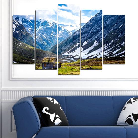 Декоративни панели и картини от канава - от 5 части №0774 » Син, Черен, Сив, Бял, Тъмно сив » Пейзаж, Небе, Сняг, Планини, Висок връх, Алпи Form #1