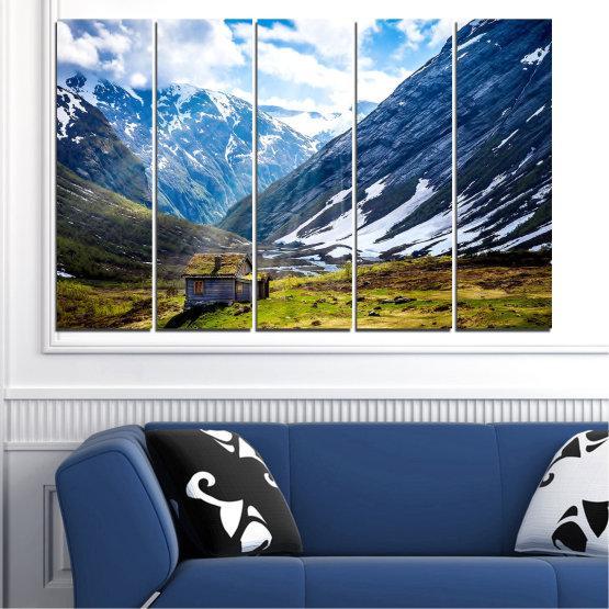 Декоративни панели и картини от канава - от 5 части №0774 » Син, Черен, Сив, Бял, Тъмно сив » Пейзаж, Небе, Сняг, Планини, Висок връх, Алпи Form #2