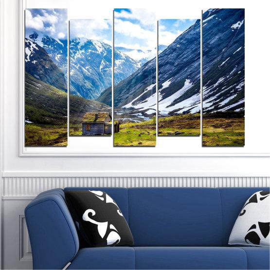Декоративни панели и картини от канава - от 5 части №0774 » Син, Черен, Сив, Бял, Тъмно сив » Пейзаж, Небе, Сняг, Планини, Висок връх, Алпи Form #3