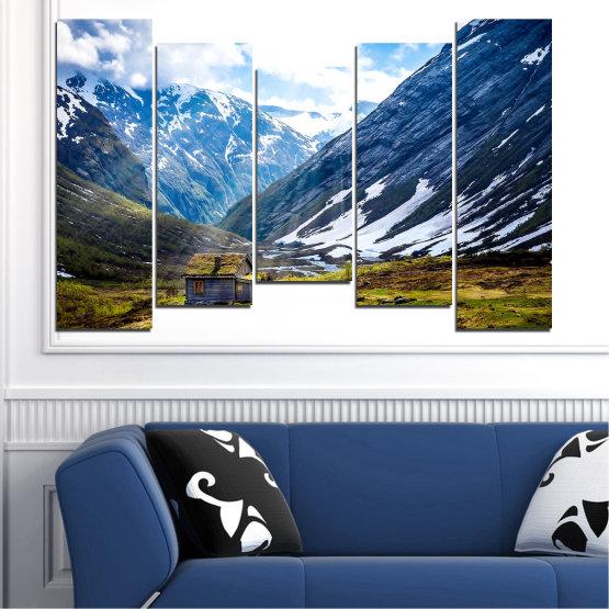 Декоративни панели и картини от канава - от 5 части №0774 » Син, Черен, Сив, Бял, Тъмно сив » Пейзаж, Небе, Сняг, Планини, Висок връх, Алпи Form #4