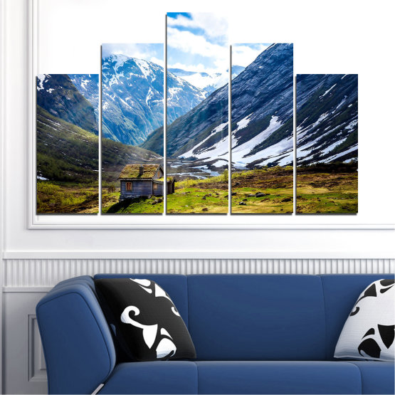 Декоративни панели и картини от канава - от 5 части №0774 » Син, Черен, Сив, Бял, Тъмно сив » Пейзаж, Небе, Сняг, Планини, Висок връх, Алпи Form #5