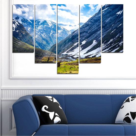 Декоративни панели и картини от канава - от 5 части №0774 » Син, Черен, Сив, Бял, Тъмно сив » Пейзаж, Небе, Сняг, Планини, Висок връх, Алпи Form #6