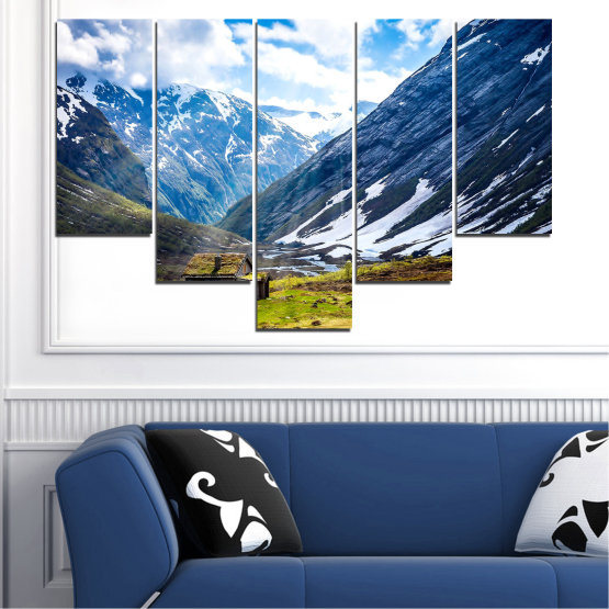 Canvas prints & wall decorative panels - 5 pieces №0774 » Blue, Black, Gray, White, Dark grey » Landscape, Sky, Snow, Mountains, Alp, Alps Form #6