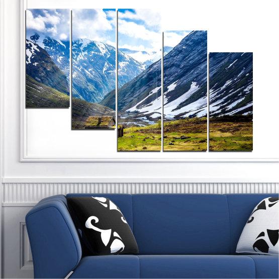 Canvas prints & wall decorative panels - 5 pieces №0774 » Blue, Black, Gray, White, Dark grey » Landscape, Sky, Snow, Mountains, Alp, Alps Form #7