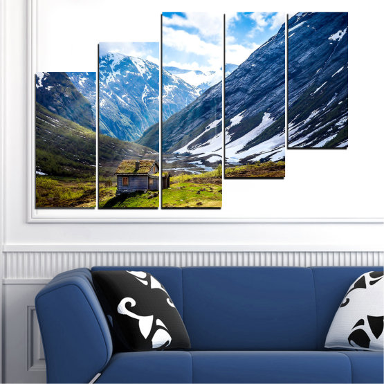 Декоративни панели и картини от канава - от 5 части №0774 » Син, Черен, Сив, Бял, Тъмно сив » Пейзаж, Небе, Сняг, Планини, Висок връх, Алпи Form #8