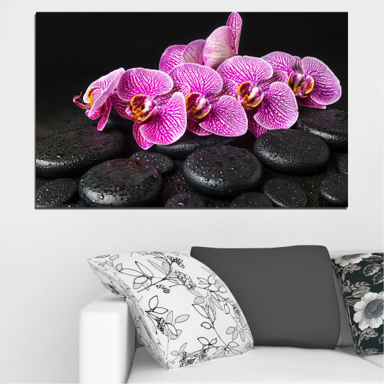 Canvas prints & wall decorative panels - 1 piece №0775 » Purple, Black, White, Milky pink, Dark grey » Orchid, Flower, Spa, Relax, Blossom, Stone Form #1