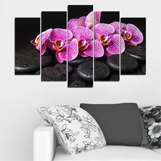Декоративни панели и картини от канава - от 5 части №0775 » Лилав, Черен, Бял, Млечно розов, Тъмно сив » Орхидея, Цвете, Отпуснете се, Спа, Цвят, Камък Form #1