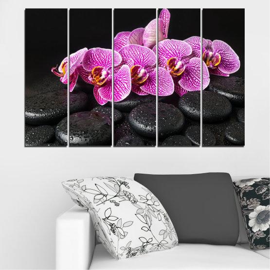 Декоративни панели и картини от канава - от 5 части №0775 » Лилав, Черен, Бял, Млечно розов, Тъмно сив » Орхидея, Цвете, Отпуснете се, Спа, Цвят, Камък Form #2