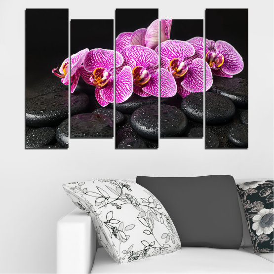 Canvas prints & wall decorative panels - 5 pieces №0775 » Purple, Black, White, Milky pink, Dark grey » Flower, Orchid, Relax, Spa, Blossom, Stone Form #3