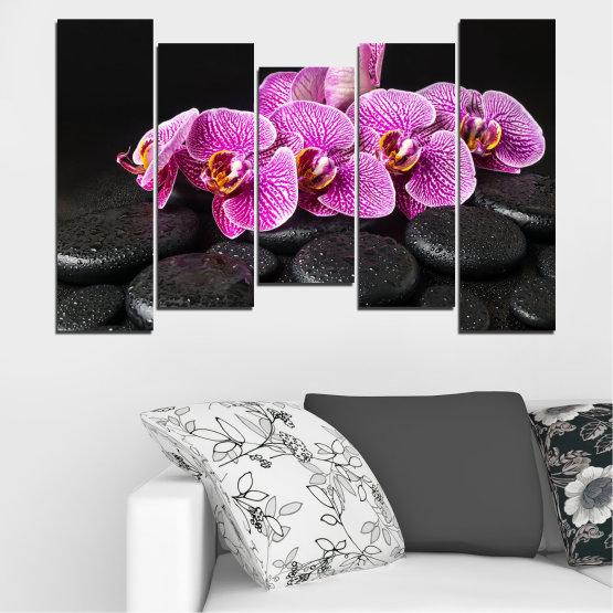 Декоративни панели и картини от канава - от 5 части №0775 » Лилав, Черен, Бял, Млечно розов, Тъмно сив » Орхидея, Цвете, Отпуснете се, Спа, Цвят, Камък Form #4