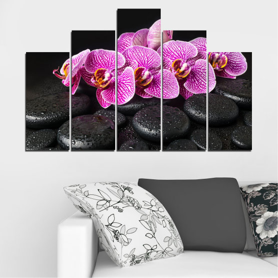 Canvas prints & wall decorative panels - 5 pieces №0775 » Purple, Black, White, Milky pink, Dark grey » Flower, Orchid, Relax, Spa, Blossom, Stone Form #5