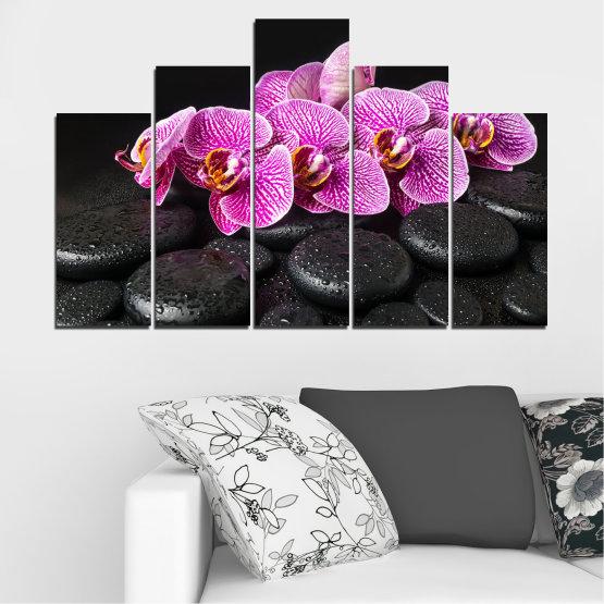 Декоративни панели и картини от канава - от 5 части №0775 » Лилав, Черен, Бял, Млечно розов, Тъмно сив » Орхидея, Цвете, Отпуснете се, Спа, Цвят, Камък Form #5