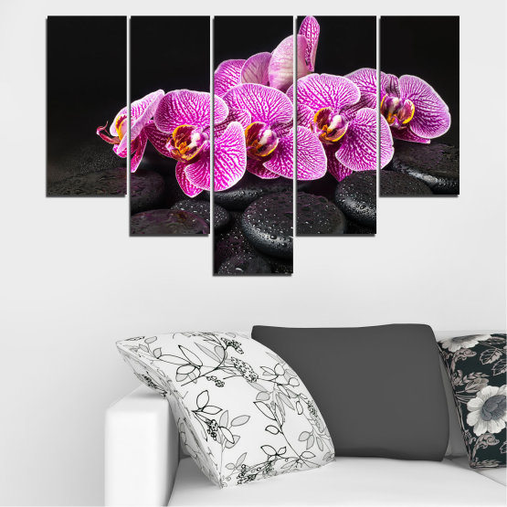 Canvas prints & wall decorative panels - 5 pieces №0775 » Purple, Black, White, Milky pink, Dark grey » Flower, Orchid, Relax, Spa, Blossom, Stone Form #6