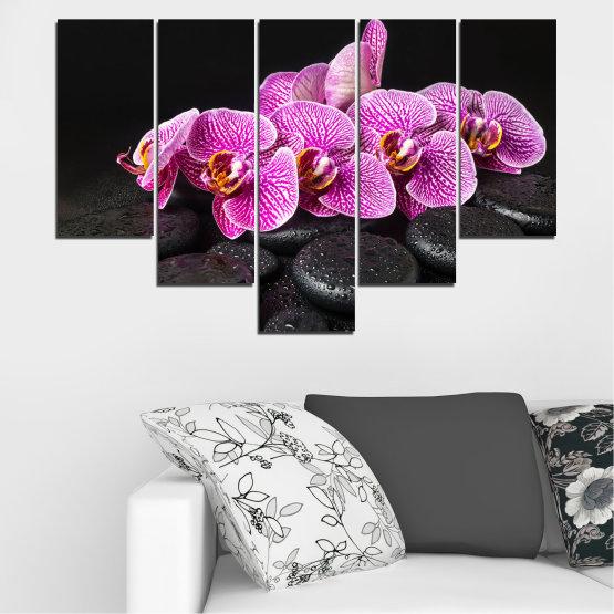 Декоративни панели и картини от канава - от 5 части №0775 » Лилав, Черен, Бял, Млечно розов, Тъмно сив » Орхидея, Цвете, Отпуснете се, Спа, Цвят, Камък Form #6