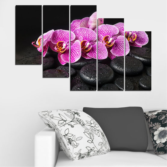 Canvas prints & wall decorative panels - 5 pieces №0775 » Purple, Black, White, Milky pink, Dark grey » Flower, Orchid, Relax, Spa, Blossom, Stone Form #7