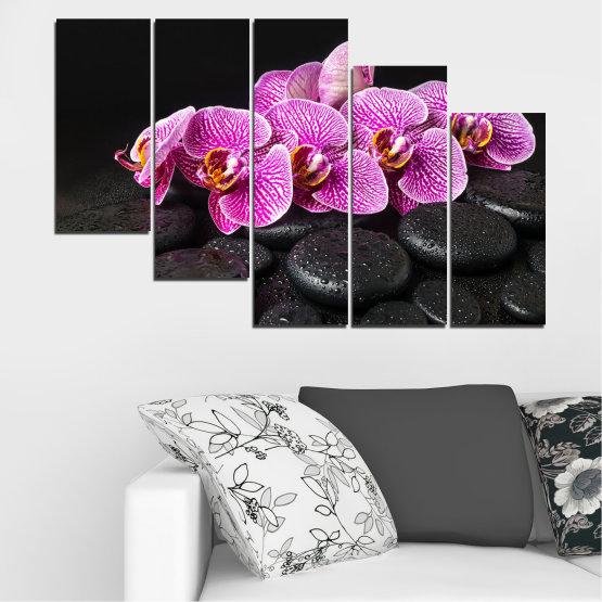 Декоративни панели и картини от канава - от 5 части №0775 » Лилав, Черен, Бял, Млечно розов, Тъмно сив » Орхидея, Цвете, Отпуснете се, Спа, Цвят, Камък Form #7
