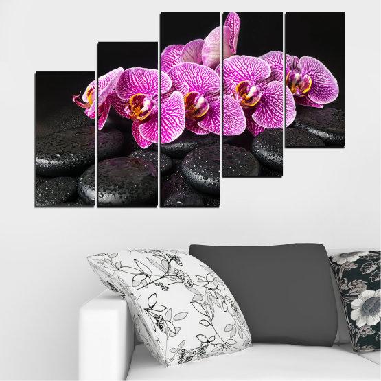Декоративни панели и картини от канава - от 5 части №0775 » Лилав, Черен, Бял, Млечно розов, Тъмно сив » Орхидея, Цвете, Отпуснете се, Спа, Цвят, Камък Form #8