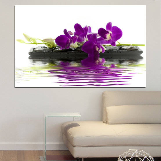 Canvas prints & wall decorative panels - 1 piece №0776 » Purple, Gray, White, Dark grey » Water, Flower, Orchid, Decoration, Bamboo, Spa, Delicate Form #1