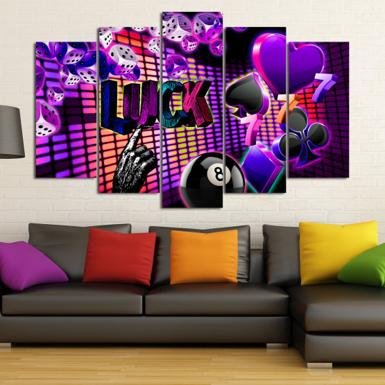 Canvas prints & wall decorative panels - 5 pieces №0777 » Pink, Purple, Black, Dark grey » Luck, Art, Star, Light, Design, Shape, Cool, Futuristic, Happy, Style, Funky, Play Form #1
