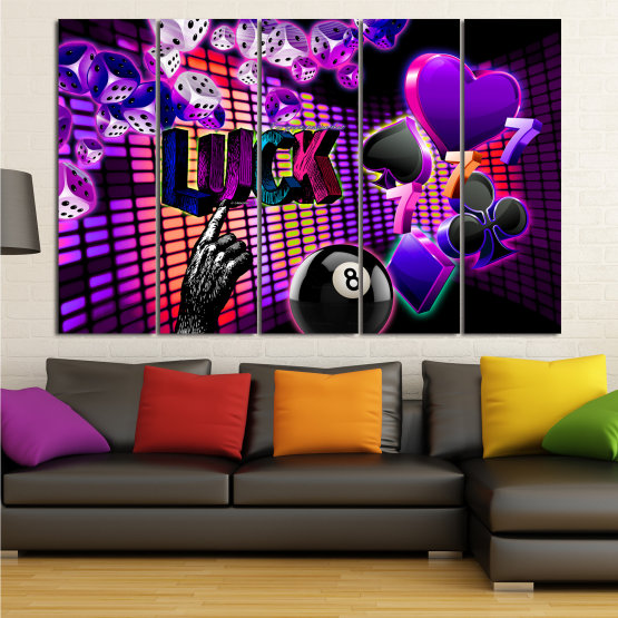 Canvas prints & wall decorative panels - 5 pieces №0777 » Pink, Purple, Black, Dark grey » Luck, Art, Star, Light, Design, Shape, Cool, Futuristic, Happy, Style, Funky, Play Form #2