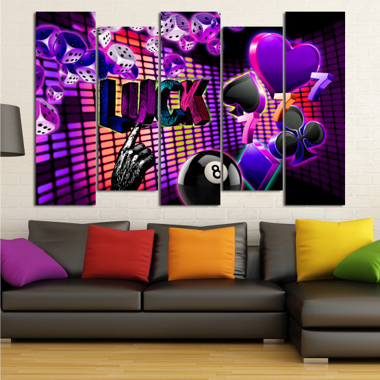 Canvas prints & wall decorative panels - 5 pieces №0777 » Pink, Purple, Black, Dark grey » Art, Luck, Star, Light, Design, Shape, Cool, Futuristic, Happy, Funky, Style, Play Form #3