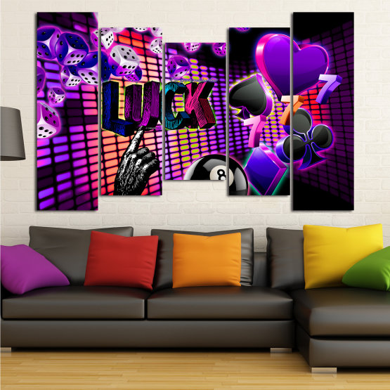 Canvas prints & wall decorative panels - 5 pieces №0777 » Pink, Purple, Black, Dark grey » Luck, Art, Star, Light, Design, Shape, Cool, Futuristic, Happy, Style, Funky, Play Form #4