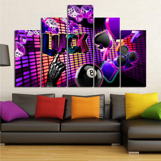 Canvas prints & wall decorative panels - 5 pieces №0777 » Pink, Purple, Black, Dark grey » Luck, Art, Star, Light, Design, Shape, Cool, Futuristic, Happy, Style, Funky, Play Form #5