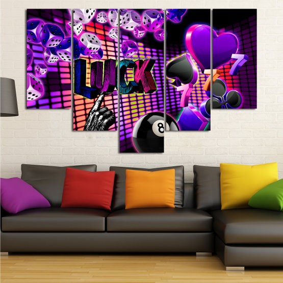 Canvas prints & wall decorative panels - 5 pieces №0777 » Pink, Purple, Black, Dark grey » Luck, Art, Star, Light, Design, Shape, Cool, Futuristic, Happy, Style, Funky, Play Form #6