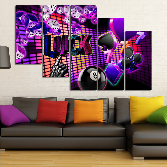 Canvas prints & wall decorative panels - 5 pieces №0777 » Pink, Purple, Black, Dark grey » Luck, Art, Star, Light, Design, Shape, Cool, Futuristic, Happy, Style, Funky, Play Form #7