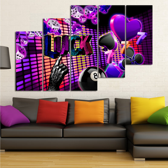 Canvas prints & wall decorative panels - 5 pieces №0777 » Pink, Purple, Black, Dark grey » Art, Luck, Star, Light, Design, Shape, Cool, Futuristic, Happy, Funky, Style, Play Form #8